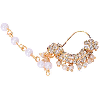 DNO Bridal Traditional White, Jadau Pearl Nose Ring/Nath with double chain