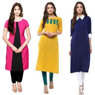 Aiza collection multicoloured crepe designer kurti combo