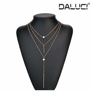 DALUCI Women Necklaces Pendants 3 multi layer Tassel Charm Bar statement gold colorNecklace for Women