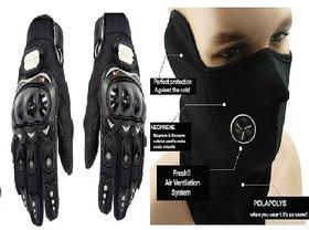 Black Pro Biker Gloves With Neoprene Mask - Anti Pollution Face Maskneck W