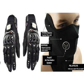 love4ride Black Pro Biker Gloves With Neoprene Mask - Anti Pollution Face Maskneck W