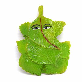 Rudra Divine Ganesh for Wall DCOR- Wall Hanging Resin Ganesh On Green Leaf Wall Hanging for home temple / for office /