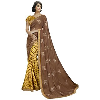Aagaman Brown & Yellow Georgette Party Wear Printed Saree