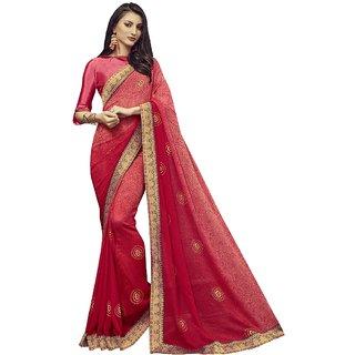 Aagaman Rani Pink Georgette Casual Wear Printed Saree