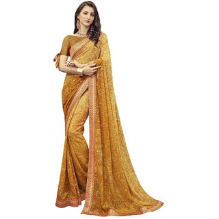 Aagaman Dark Yellow Georgette Casual Wear Printed Saree
