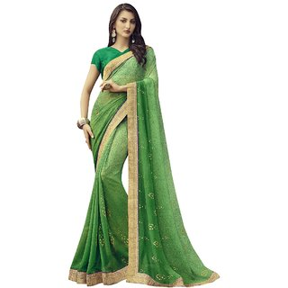 Aagaman Green Georgette Casual Wear Printed Saree