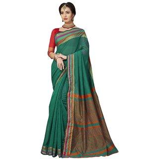 Aagaman Rama Green Art Silk Festival Wear Woven Saree