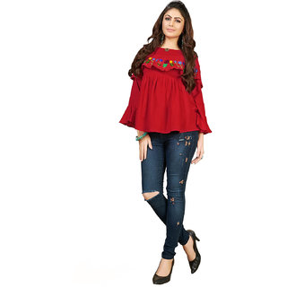 346a9dfa77a37 FASHION CARE presents embroidered long pattern near neck Red color rayon  flex fabric top for women s in western wear fas