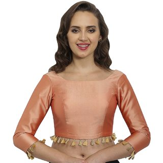5847d2578afbf9 Buy JustB Peach Polysilk Round Neck Readymade Blouse Online - Get 20% Off