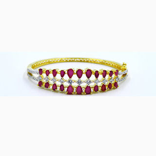 American Diamonds Gold Plated Trendy Pink Bracelet For Girls And Women