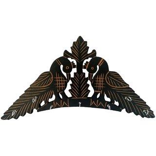 Desi Karigar Handmade Wooden Key Hanger Holder Wall Decor Peacock