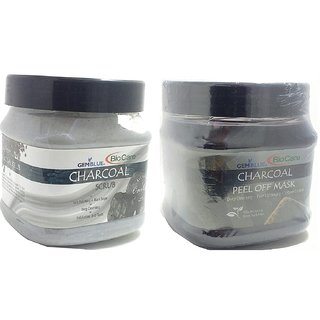 BioCare Charcoal Peel Off Mask and Charcoal Scrub - Combo of 2 (500ml) Each
