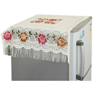 Khushi Creation Floral Decorative Fridge Top Cover - (Off-White Color)
