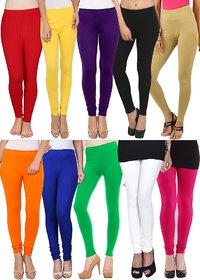 Colours Splash Multicoloured Cotton Lycra Leggings Pack Of 10