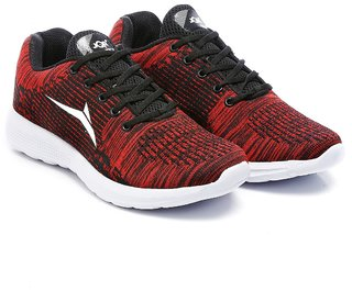 new product b4016 b19a9 JQR Red Knitted Lace Up Sports Shoes For Men