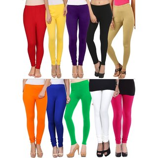 Colours Splash Multicoloured Viscose cotton Leggings Pack Of 10