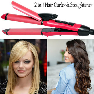 2in1 Solid Ceramic Professional Hair Curler Curling Iron Rod Hair Straightener Flat Iron Anti-Static Styling Roller 35W