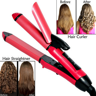 Professional 2in1 Solid Ceramic Anti-Static Hair Straightener Curling Iron  Hair Curler Rod Flat Iron Waver Maker 35W
