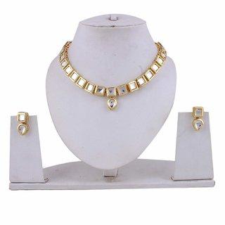 Kalavi Latest Design Gold Alloy Kundan Necklace Set with Earrings for Women/Party wear Jewellery Set with Earrings