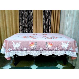 Table Cover For Dining Table 6 Seater Table Cloth Net Floral Design Size  ( 90 inch ( 228.6 cm )  x 60 inch ( 152.4 cm)  Pink Color By AH