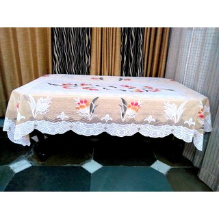 Table Cover For Dining Table 6 Seater Table Cloth Net Floral Design Size  ( 90 inch ( 228.6 cm )  x 60 inch ( 152.4 cm)  Beige Color By AH