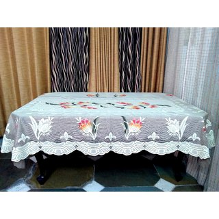 Table Cover For Dining Table 6 Seater Table Cloth Net Floral Design Size  ( 90 inch ( 228.6 cm )  x 60 inch ( 152.4 cm)  Grey Color By AH