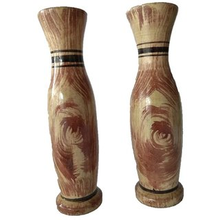 wooden carving decorative home accessory flower vase