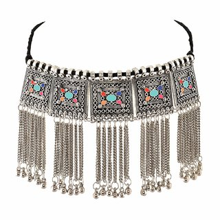 Oxidised silver plated Floral Stone Studded Necklace for Women by Sparkling Jewellery