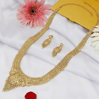 Sukkhi Moddish Gold plated Rani Haar Necklace Set for Women