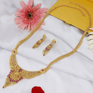 Sukkhi Modern Gold plated Long Haram Necklace Set for Women