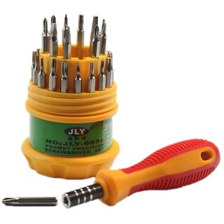 Jackly Magnetic Precision Screwdriver Tool Set - 31 In 1 (Yellow)