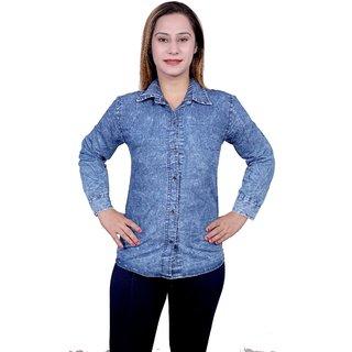 Future girl Denim Casual Wear Plain Shirt for Girls/Women