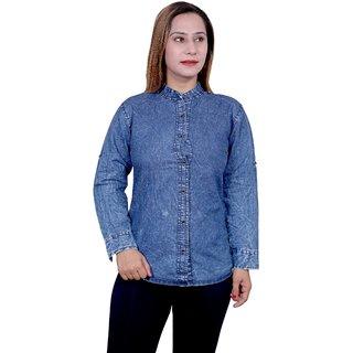 Future girl Denim chinese collar Plain Shirt for Girls/Women