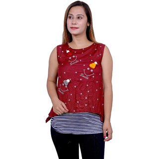 Future girl Rayon Maroon Casual Wear Top for Girls/Women