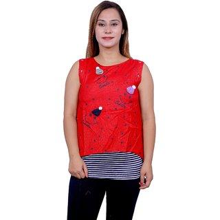 Future girl Rayon Red Casual Wear Top for Girls/Women
