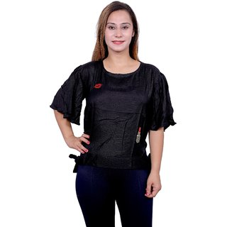 Future girl Rayon Casual Wear Solid Black Top for Girls/Women