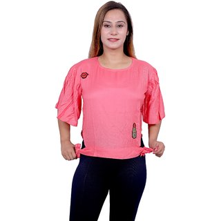 Future girl Rayon Casual Wear Solid Pink Top for Girls/Women