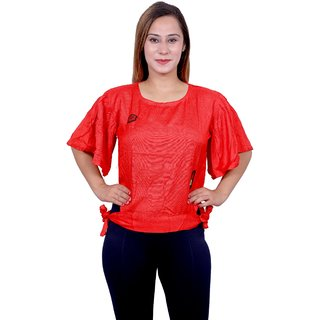 Future girl Rayon Casual Wear Solid Red Top for Girls/Women