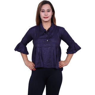 Future girl Women's Rayon Navy Blue Top