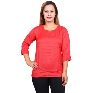 Future girl Cotton Red Casual Wear Top for Girls/Women