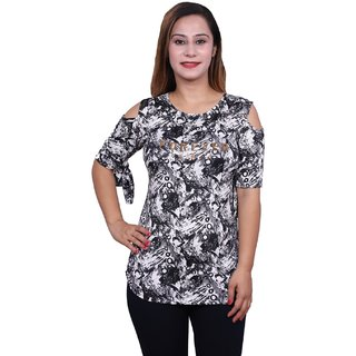 Future girl Printed Black Casual Wear Top for Girls/Women