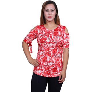 Future girl Printed Red Casual Wear Top for Girls/Women