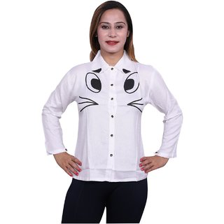 Future girl Rayon Off White Printed Casual Wear Shirt for Girls/Women