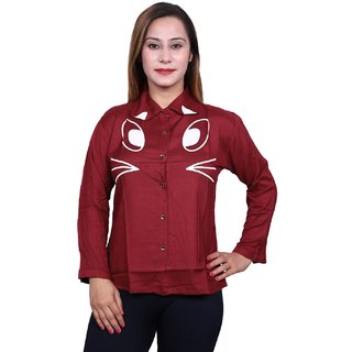 Future girl Rayon Maroon Printed Casual Wear Shirt for Girls/Women