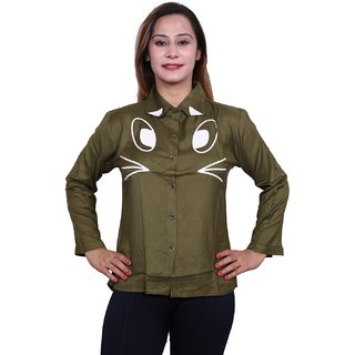 Future girl Rayon Green Printed Casual Wear Shirt for Girls/Women