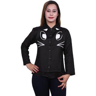 Future girl Rayon Black Printed Casual Wear Shirt for Girls/Women