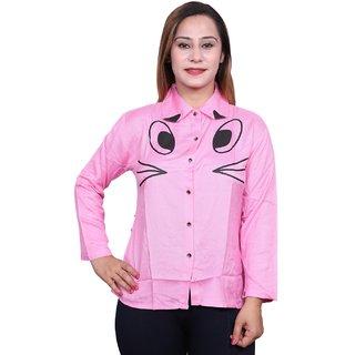 Future girl Rayon Pink Printed Casual Wear Shirt for Girls/Women