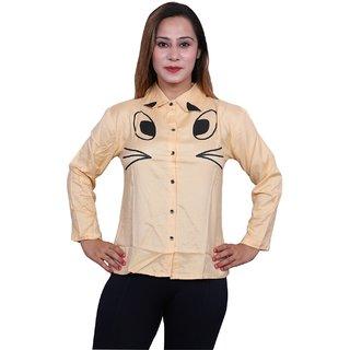 Future girl Rayon Peach Printed Casual Wear Shirt for Girls/Women