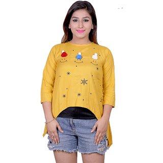 Future girl Rayon Mustard Printed Casual Wear Top for Girls/Women