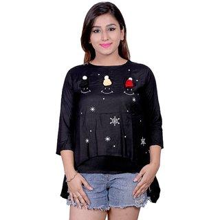 Future girl Rayon Black Printed Casual Wear Top for Girls/Women